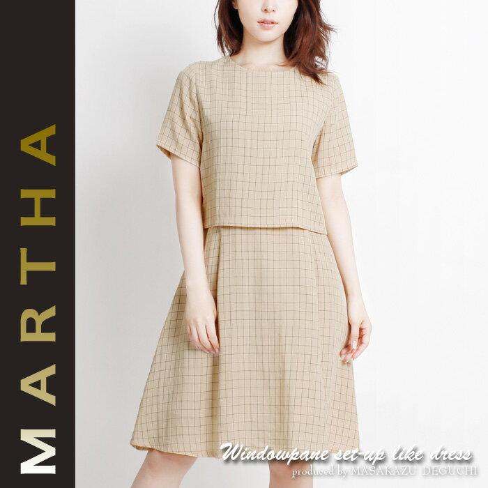 【MARTHA】マーサ★ウィンドウペンセットアップ風ワンピース[16083]【4800円以上送料無料】