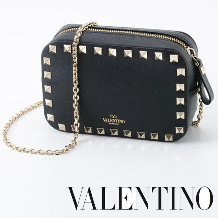 【送料無料】【VALENTINO】ヴァレンティノ/The Rockstud Leather Shoulder Bag/ロックスタッズショルダーバッグ 黒/ピンク/LW0P0654B0L[2127]【4800円以上送料無料】