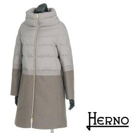\クーポンで5000円OFF/送料無料 HERNO ヘルノ ダウンコート ウールコート 上品な異素材コンビのバイカラーコート 軽量ダウンジャケット 無地 防寒 PI680D [4146]