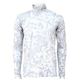 ガチャゴルフ 裏アルミヒートリフレクション機能付きタートルネックアンダーシャツ3 総柄ロゴプリント 長袖 ホワイト GATCHA GOLF 193GG1100-001