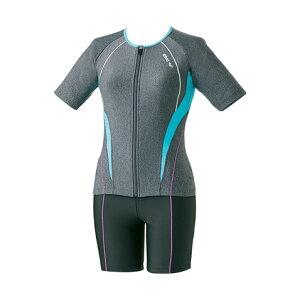 アリーナ フィットネス水着 大きめカラースナップ付き袖付きセパレーツ (差し込みフィットパッド) ダブルエステル arena LAR-8242W-MKBU