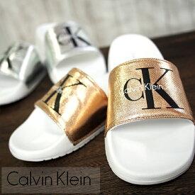Calvin Klein カルバンクライン レディースシャワーサンダル 全2色 CHANTAL METAL CANVAS 34R3654
