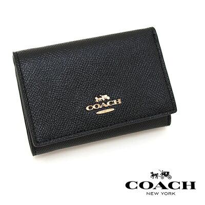 COACHコーチ三つ折り財布BLACK39737スモールフラップウォレットミニ財布コーチ財布レディース