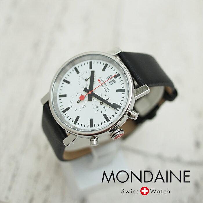 MONDAINE モンディーン Evo Chronograph エヴォ クロノグラフ 40mm A690.30304.11SBB ホワイトダイアル ブラックレザー 腕時計 本革レザーベルト スイス製腕時計 モンディーン メンズ