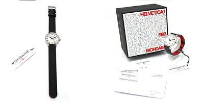 MONDAINEモンディーンCLASSICクラシック33mmホワイトダイアルブラックレザーマットケース腕時計本革レザーベルトスイス製腕時計モンディーンメンズレディース