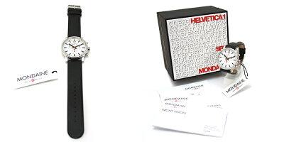 MONDAINEモンディーンEvoChronographエヴォクロノグラフ40mmホワイトダイアルブラックレザー腕時計本革レザーベルトスイス製腕時計モンディーンメンズ
