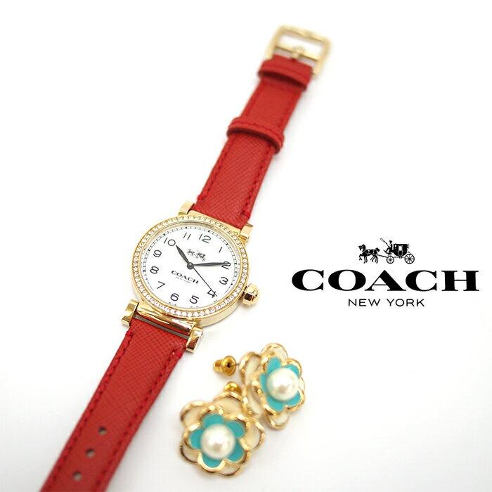 COACH コーチ レディース腕時計 革ベルト MADISON FASHION マディソン ファッション ゴールド×レッド ウォッチ 14502400