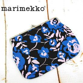 【メール便可】 MARIMEKKO マリメッコ がま口 ポーチ ブルー×ブラック系 PUOLIKAS KUKKARO MINI ORVO 045667 マルチケース 小物入れ