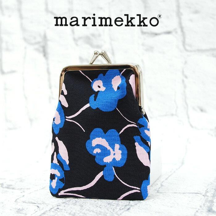 【メール便可】 MARIMEKKO マリメッコ がま口 ポーチ ブルー系 KORTTI KUKKARO ORVO 045666 財布 小銭入れ マルチケース 小物入れ