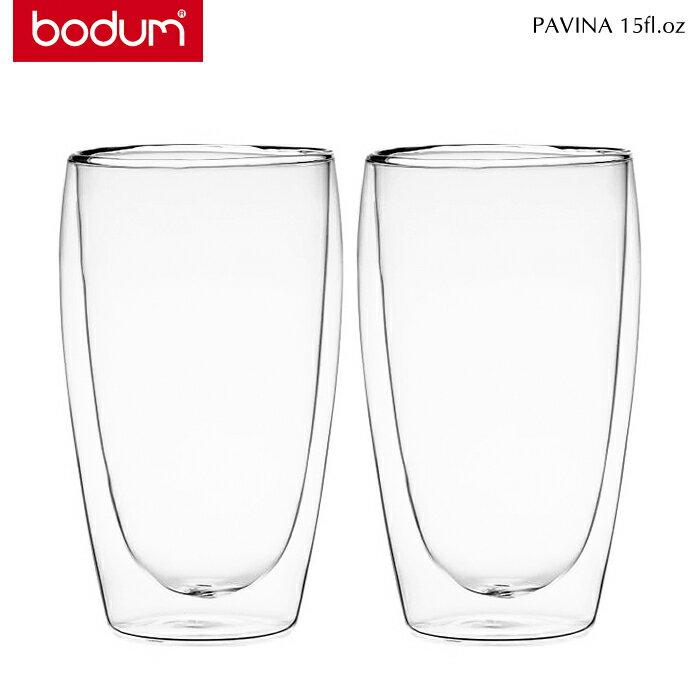 bodum ボダム 4560 PAVINA ダブルウォールグラス 0.45L/15fl.oz 2個セット トランスペアレント [bodum3点以上お買上で送料無料]