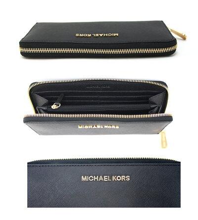 MICHAELKORSマイケルコースラウンドファスナ−長財布BLACK/ブラックJETSETTRAVEL32S3GTVE3Lマイケルコース財布
