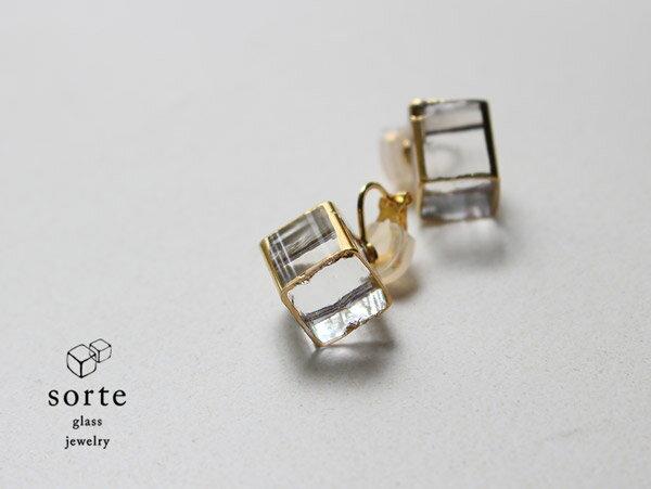 sorte glass jewelry イヤリング SGJ-006E ガラスと金の繊細な組み合わせを楽しむイヤリング