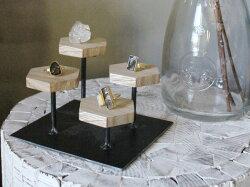 『予約受付中』ウッドディスプレイステージSサイズ『アクセサリー収納スタンド木製ディスプレイ店舗什器ジュエリー指輪ピアスイアリングトレースタンド木製』