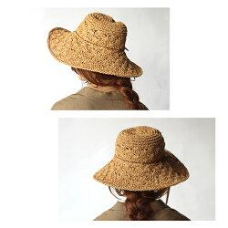 サマーハットレディース『コースステッチハット』麦わら帽子夏ペーパー折りたたみおしゃれリボン付きつば広UV・紫外線対策シンプルベージュナチュラルリゾート