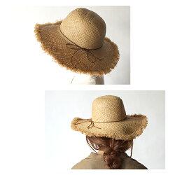 麦わら帽子サマーハット『キャペリンフリンジハット』レディース夏天然素材おしゃれリボン付きつば広女優帽UV・紫外線対策シンプルベージュナチュラルリゾート