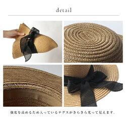麦わら帽子レディース『ポイントリボンハット』サマーハット夏ペーパー折りたたみおしゃれリボン付きつば広UV・紫外線対策シンプルベージュナチュラルリゾート『予約受付中』