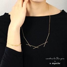 ネックレス レディース 『オプティル リルト ネックレス』 ゴールド 華奢 線 モチーフ ブラス 真鍮 きれいめ カジュアル 日本製 大人 金属製 セレブ パーティー シック モード アデペシュ