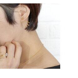 ピアス『オプティルリルトピアスバックキャッチ』レディースゴールドアンティークゴールド2way華奢おしゃれブラス真鍮モチーフ日本製チタンポスト純チタン金属アレルギー対応きれいめカジュアル両耳『予約受付中』