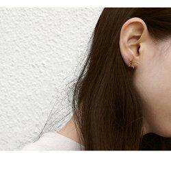 ピアスレディースゴールド『オプティルリルトピアスグレイン』シンプル華奢おしゃれブラス真鍮花星モチーフ日本製チタンポスト純チタン金属アレルギー対応きれいめカジュアル両耳『予約受付中』