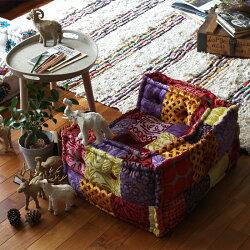 ローソファー『BMSキッズソファマクラメエンブロイダリー』子供用ソファ一人掛け送料無料座椅子フロアソファー小さいジュニアセパレート犬猫ペットベッドエスニックアジアン一人用アデペシュ2019aw