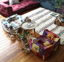 ソファー子供用『BMSキッズソファドットパッチワーク』ローソファー一人掛け送料無料座椅子フロアソファー小さいジュニアセパレート犬猫ペットベッドエスニックアジアン一人用アデペシュ2019aw