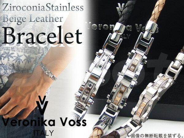 【Veronika Voss】ヴェロニカボスジルコニア×ステンレス×編み込みレザーブレスレットラグジュアリー×ワイルドデザインメンズアクセサリーブラック/ブラウン/ベージュあす楽対応