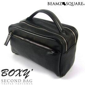 【送料無料】【BEAMZ SQUARE】サフィアーノレザー セカンドバッグ メンズボックス型 牛革 男性用 レザー 鞄 ブランドブラック ビームズスクエア