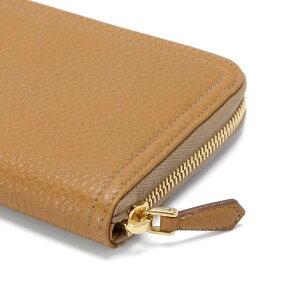 PRADA1M0506VITELLODAINOCARAMELプラダラウンドファスナー長財布型押カーフスキン