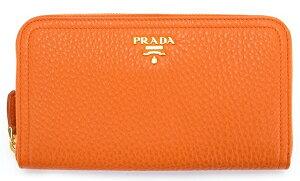 PRADA1M0506VITELLODAINOPAPAYAプラダラウンドファスナー長財布型押カーフスキン