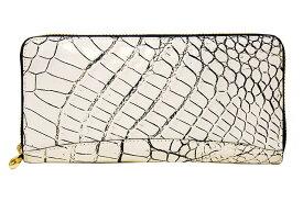 CROCODILE SUC-8888クロコダイル ラウンドファスナー長財布日本製 マットクロコダイル革バニラ×ブラック×ゴールド