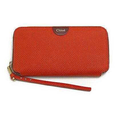 Chloe 3P0155-833-32Dクロエ ラウンドファスナー長財布レザー マンダリンピール