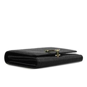 BVLGARI285334ブルガリロゴクリップWホック三折財布グレインレザーブラック×ブラック