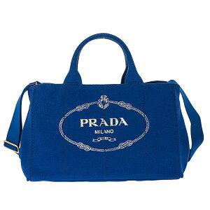 PRADA1BG642-CANAPA/COBALTOプラダ2WAYバッグコットンキャンバスコバルト×ゴールド