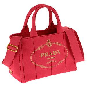 PRADA1BG439-CANAPA/PEONIAプラダ2WAYバッグコットンキャンバスピンク×ゴールド