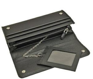 PRADA1MH132-NEROプラダスナップ長財布チェーン付パスケース型押レザーブラック×シルバー※取寄品