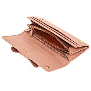 PRADA1MH132S-FIOCCO-ORCHIDEAプラダスナップ長財布チェーン付パスケース型押レザーピンク系×ゴールド※取寄品