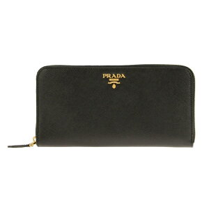 PRADA1ML506-S/ME/NEROプラダラウンドファスナー長財布型押レザーブラック×ゴールド