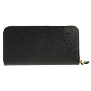 PRADA1ML506-S/TRIANGOLO/NEROプラダラウンドファスナー長財布型押レザーブラック×ゴールド
