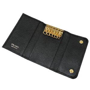 PRADA1PG222S-FIOCCO-NEROプラダ6連キーケース型押レザーブラック×ゴールド※取寄品