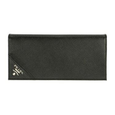 PRADA 2MV836-S/ME/NERプラダ 二折長財布型押レザーブラック×シルバー