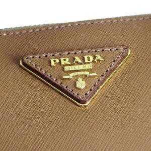 PRADABN1874SAFFIANOLUXCAMELプラダショルダーストラップ付ハンドバック型押レザーキャメル