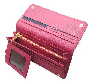 PRADA1M1132VITELLOGRAINPEONIAプラダアウトレット財布チェーンパスケース付長財布型押グレインレザーピンク×ゴールド