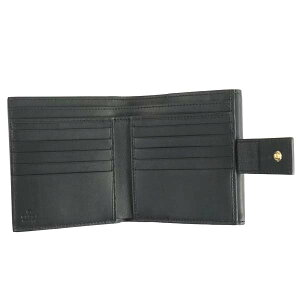 GUCCI410104-KHNKG-9769グッチ二折小銭財布グッチシマレザーベージュ×ブラック