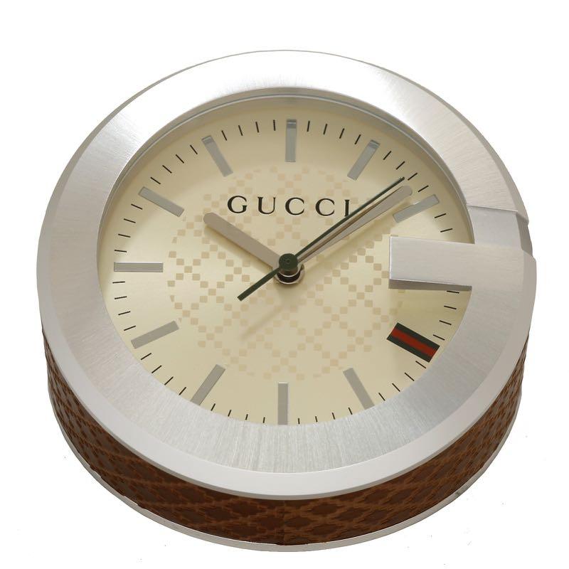 GUCCI YC210005グッチ テーブルウォッチステンレス×レザー 置時計ベージュ×ブラウン×シルバー※取寄品