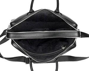 dunhillADV8L3G241Aダンヒルメンズビジネスバッグダブルジップブリーフケース牛革(カウハイドレザー)ブラック×シルバー