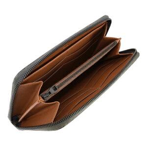 dunhillL2V518VCHASSISダンヒルシャーシラウンドファスナー長財布カーボン加工マットプリンティッドレザーグリーン×ブラウン