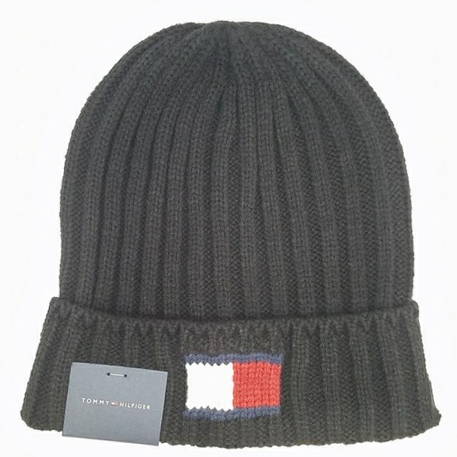 TOMMY HILFIGER H8H73210-CHARCOALKNIT LOGO CUFF HATトミーヒルフィガー ニット帽子アクリル100% チャコールグレー