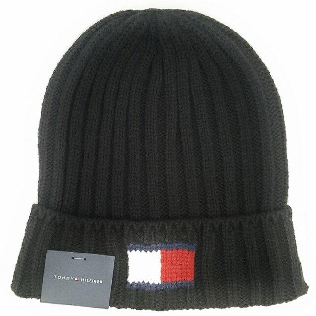 TOMMY HILFIGER H8H73210-BLACKKNIT LOGO CUFF HATトミーヒルフィガー ニット帽子アクリル100% ブラック