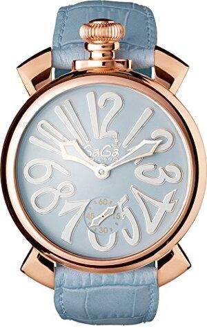 GAGAMILANO5011.03SMANUALE48MM18KPVDガガミラノマヌアーレ48ユニセックス手巻き腕時計レザーステンレスライトブルー×ホワイト