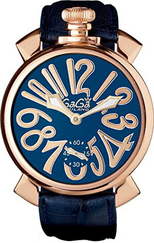 GAGAMILANO5011.05SMANUALE48MM18KPVDガガミラノマヌアーレ48ユニセックス手巻き腕時計レザーステンレスブルー×ゴールド